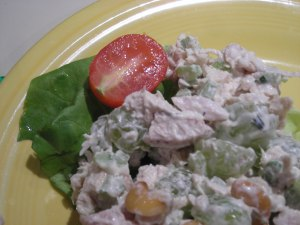 Chicken salad:first tomato