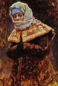 4 Vasily Ivanovich Surikov (Russian artist, 1848-1916) Boyaryshnya. Study for Boyaryshnya Morosova 1886