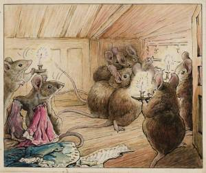 The Mice Hear Simpkin Outside circa 1902 by Helen Beatrix Potter 1866-1943