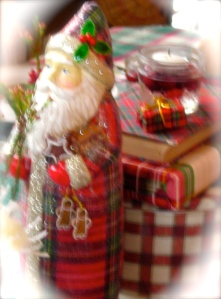 Santa holding gingerbread
