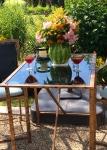Bistro table:watermelon vase:Bacon