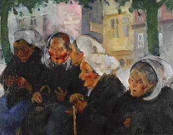 p Martha Walter (American Impressionist, 1875–1976) Town Meeting, Brittany